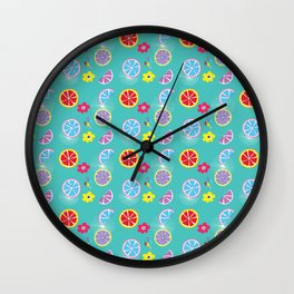Citrus Fruits Turquoise Wall Clock