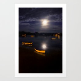 Full moon on Biscay Bay Art Print