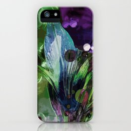 Lily on a green-violet background iPhone Case