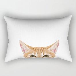 peeking tabby cat cute cat breeds pet portrait cat over pet portrait Rectangular Pillow