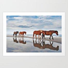 Beach Horses Art Print