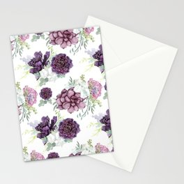Succulents Deep Violet Lavender Pastel Green Lilac PatternSee Nature Magick for more pretty pastel c Stationery Cards