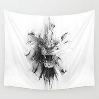 stone Wall Tapestries featuring STONE LION by Alexis Marcou