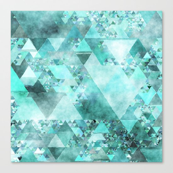 Triangles in aqua - Modern turquoise green blue triangle pattern Canvas Print