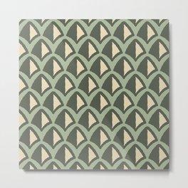 Classic Hollywood Regency Pyramid Pattern 222 Green Beige Metal Print