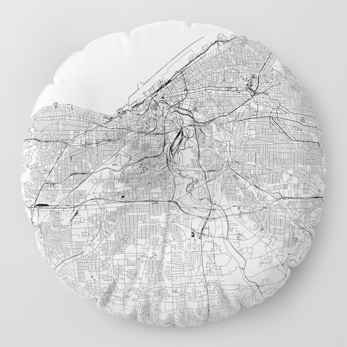Cleveland White Map Floor Pillow
