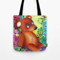teddy bear Tote Bags featuring teddy bear by oxana zaika
