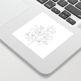 Minimal Line Art Magnolia Flowers Sticker