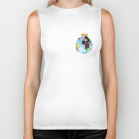 globe Biker Tanks featuring Globe Bauble by Bridget Davidson