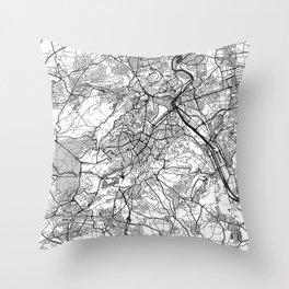 Stuttgart Map Gray Throw Pillow