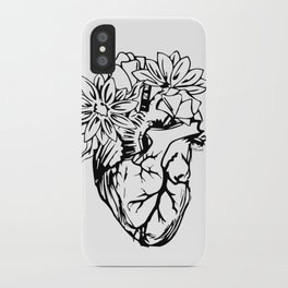 Floral Mexican Heart - black and white iPhone Case