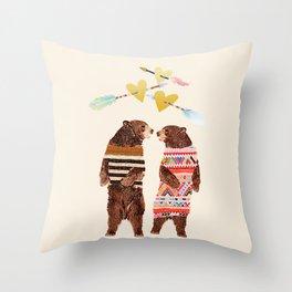 Dancing Bear Couple in Love Throw Pillow