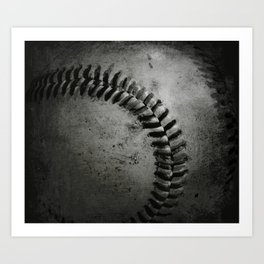 Black and white Baseball Art Print