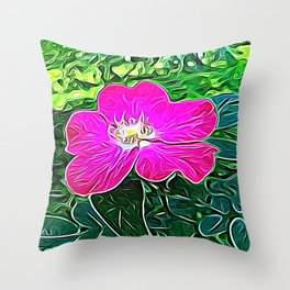 Magenta Flower of Harmony Throw Pillow