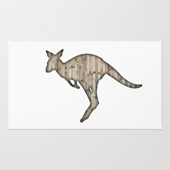 wooden kangaroo Rug