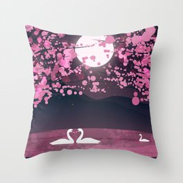 Swans and Cherry Blossoms Throw Pillow
