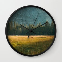Meadow Sunset in Yosemite Wall Clock