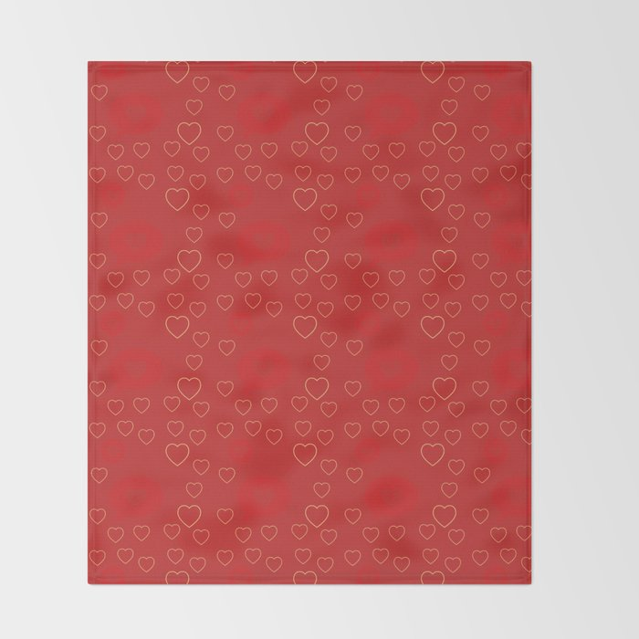 Bright ruby red fancy abstract love style pattern with fine golden hearts and bubbles Throw Blanket