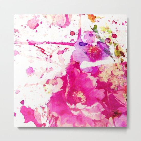 flower and splash in pink Metal Print