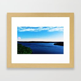 Scituate Reservoir with red sailor's moon - Scituate, Rhode Island Framed Art Print