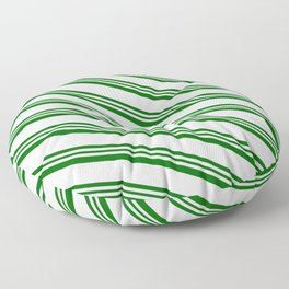 Lavender and Dark Green Colored Lines/Stripes Pattern Floor Pillow