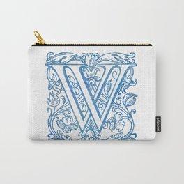 Letter W Elegant Vintage Floral Letterpress Monogram Carry-All Pouch