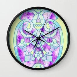 Art Nouveau Aqua and Purple Batik Design Wall Clock