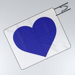 Heart (Navy Blue & White) Picnic Blanket