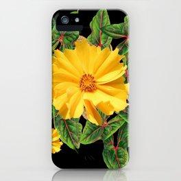BLACK & YELLOW COREOPSIS   FLORAL ART DESIGN iPhone Case