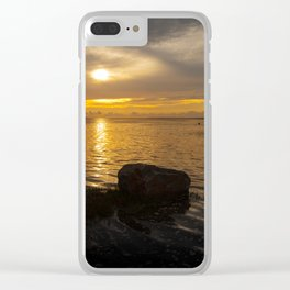 Penclawdd sunset Clear iPhone Case