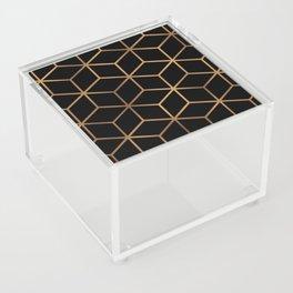 Black and Gold - Geometric Cube Design Acrylic Box