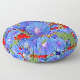 CHINESE RED & BLUE MORNING GLORIES ART  Floor Pillow