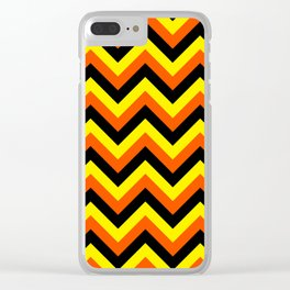Yellow Orange and Black Chevrons Clear iPhone Case