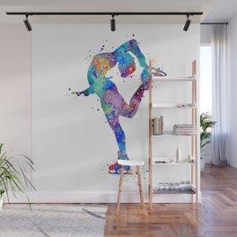 Ice Skating Girl Colorful Watercolor Art Sports Art Gift Wall Mural