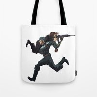 stucky Tote Bags featuring Dammit Steve by MMCoconut