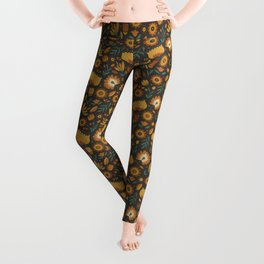 Autumn Folk Art Florals Leggings