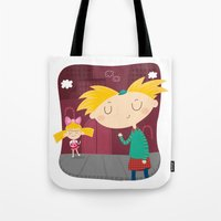 arnold Tote Bags featuring Arnold by Maria Jose Da Luz
