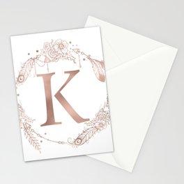 Letter K Rose Gold Pink Initial Monogram Stationery Cards