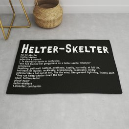 Helter Skelter (white on black) Rug