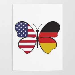 USA Germany Butterfly - Dual Citizenship Poster