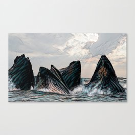 Playful Pod of Whales Canvas Print