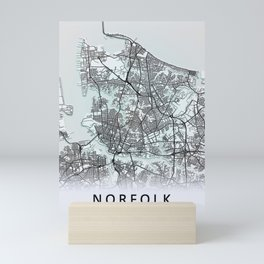 Norfolk, VA, USA, White, City, Map Mini Art Print