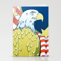 patriotic Stationery Cards featuring Patriotic Eagle by whiterabbitart