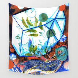 Mermaid blue and red Wall Tapestry