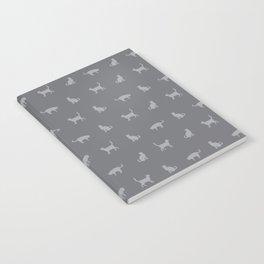 Grey Cute Cat Pattern Notebook