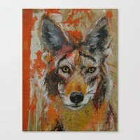 coyote Canvas Prints featuring Coyote by Ali Kirby