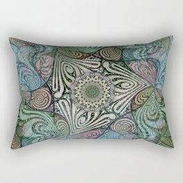 Labyrinth Mandala Blue Green Grey Rectangular Pillow