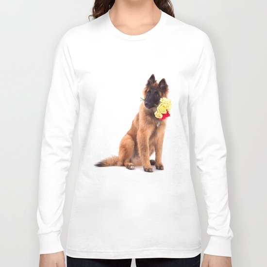 Puppy with roses  Long Sleeve T-shirt
