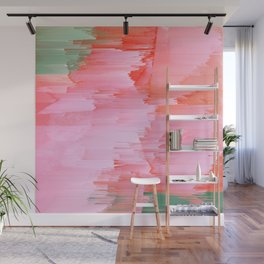 Romance Glitch - Pink & Living coral Wall Mural
