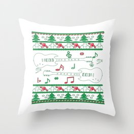 Guitar Christmas Throw Pillow